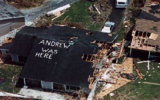 This Photo says tells many stories about Hurricane Andrew (1992).
