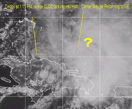 Debby's Low Level Circulation Center Diving into Hispaniola Reform possible?