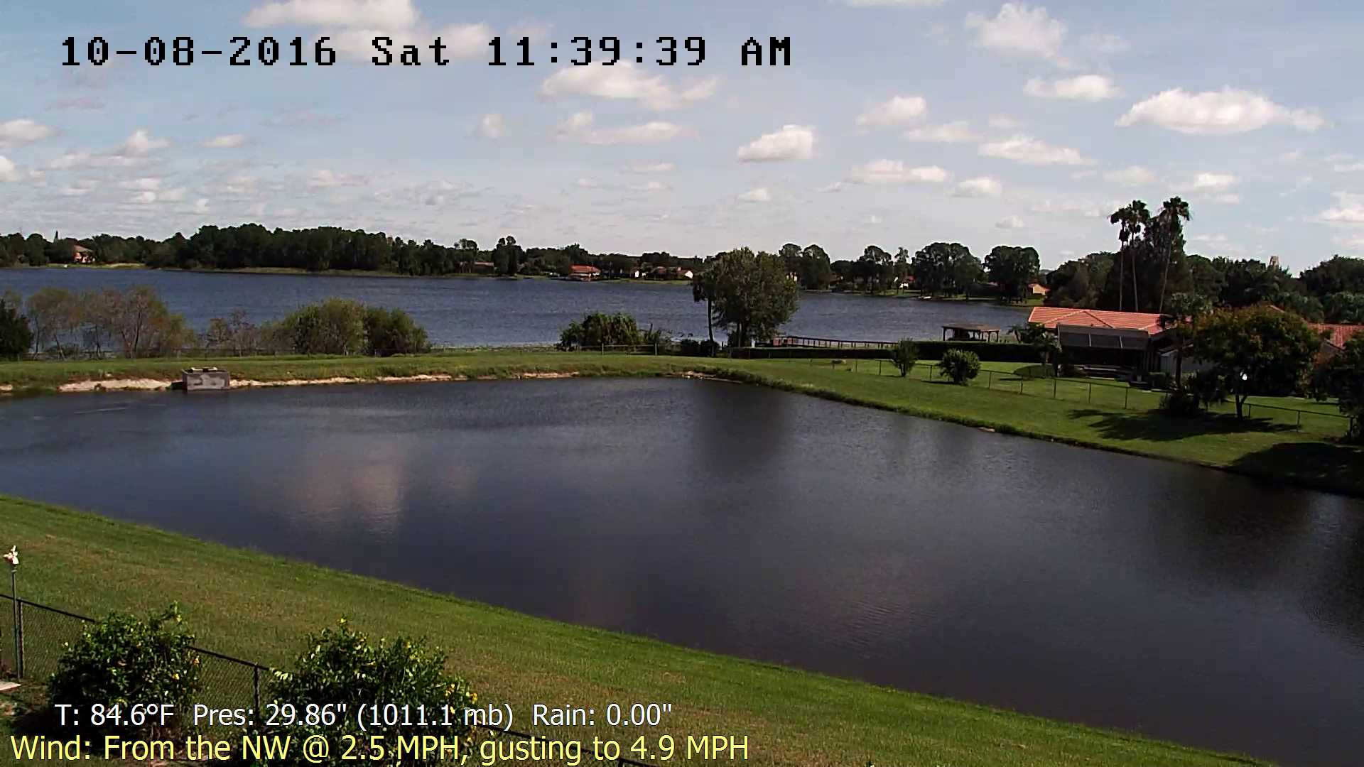Flhurricane Orlando Lake Marsha Cam recording approach of Matthew (2016)
