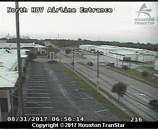 IH-45 North at North HOV Airline Entrance (Harvey 2017)
